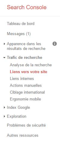 liens vers le site dans la search console