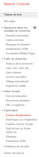 Menu de la Google Search Console