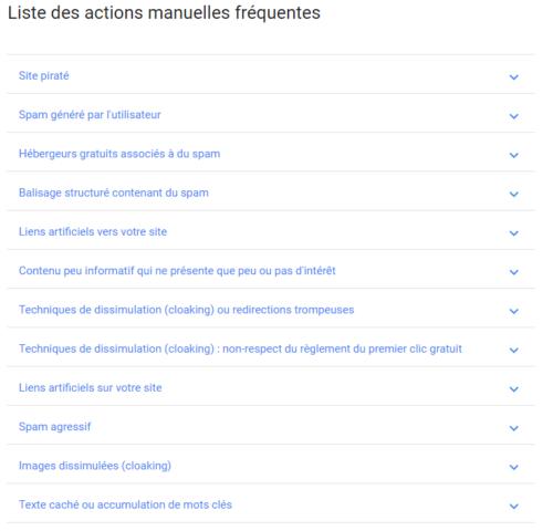 Les raisons de pénalité manuelle dans les consignes pour webmasters de Google