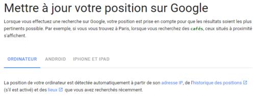 Google détermine la localisation de l'internaute