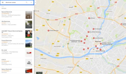 Recherche locale sur Google Maps