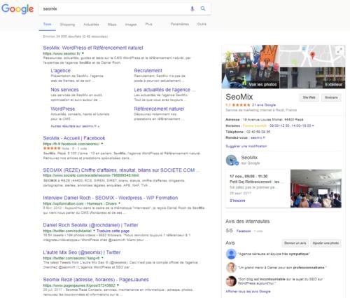 Affichage des données Google My Business