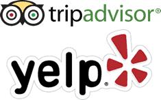 Logo de Tripadvisor et Yelp