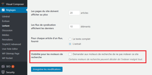 la demande de non indexation de site sur wordpress
