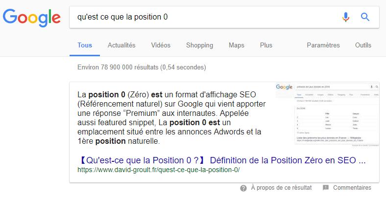 Position zéro