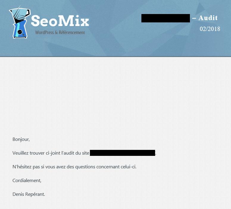 un rapport d'audit seo de seomix