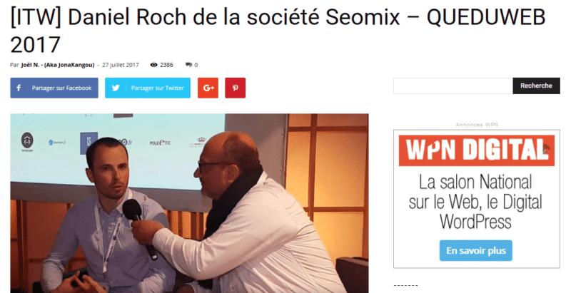 ITW Daniel Roch de la société Seomix – QUEDUWEB 2017 WPNormandie