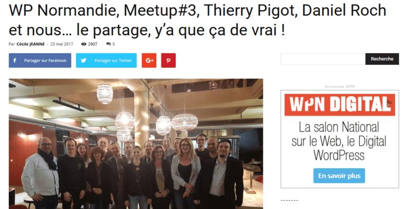 WP Normandie Meetup 3 Thierry Pigot Daniel Roch et nous… le partage y'a que ça de vrai WPNormandie