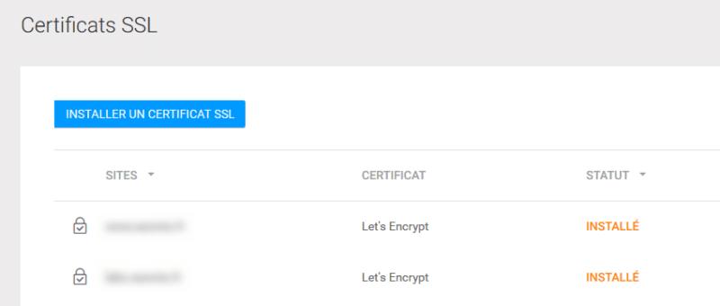 Certificat SSL d'un hébergeur