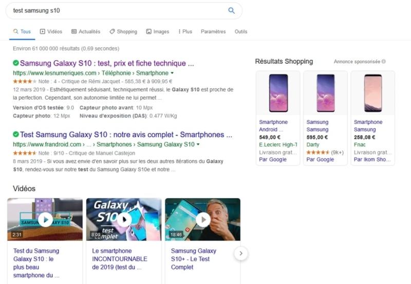 Exemple de page de résultat de Google