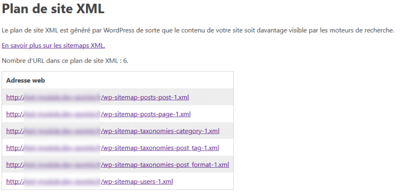 Le fichier sitemap Index natif de WordPress
