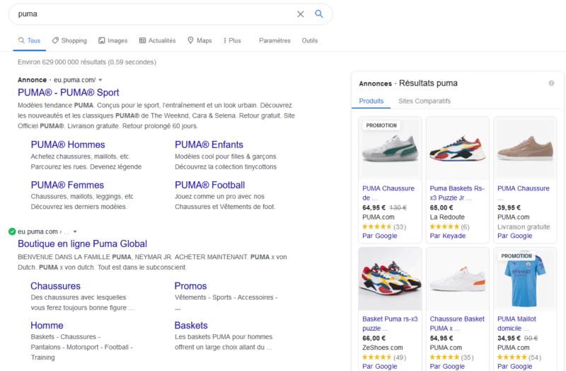 "Recherche Google ""Puma"""