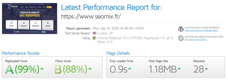 Le temps de chargement de SeoMix après la refonte