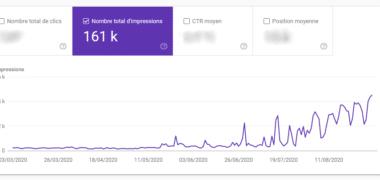 """Nombre d'impressions sur la requête """"WordPress"""""""