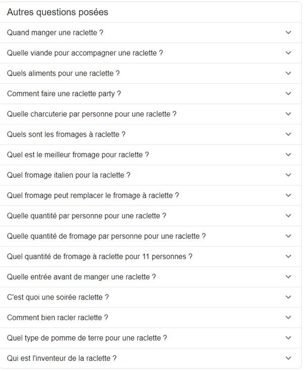 exemple questions suggérées google manger raclette